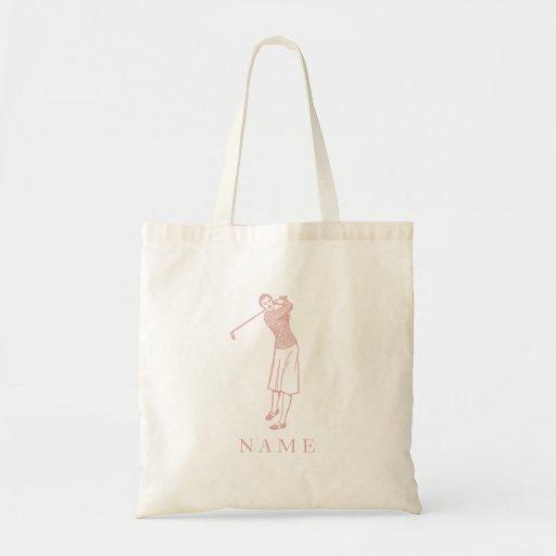 Vintage Lady Golfer in Pink Bags