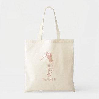 Vintage Lady Golfer in Pink Budget Tote Bag