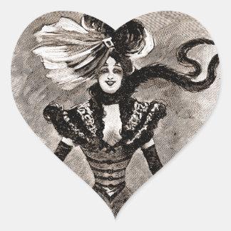 Vintage Lady Heart Sticker