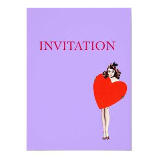 Vintage Lady Holding Love Heart 14 Cm X 19 Cm Invitation Card
