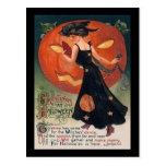 Vintage Lady in Black and Jack o' Lantern Post Card