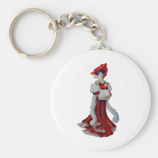Vintage Lady in Red Key Chain