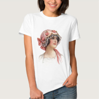 Vintage Lady in Silk Flowered Bonnet Tee Shirts