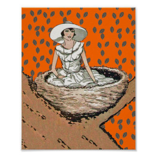 Vintage Lady In White Bird Nest Leaves Print