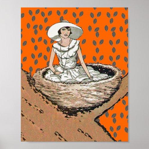 Vintage Lady In White Bird Nest Leaves Print