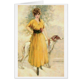 Vintage - Lady in Yellow with Borzoi, Card