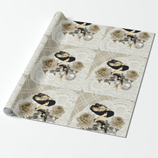 Vintage Lady Ivory Lace Wrapping Paper