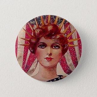 Vintage Lady Liberty July 4th Patriotic Postcard 6 Cm Round Badge