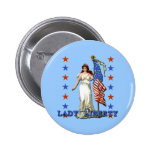 Vintage Lady Liberty with American Flag Button