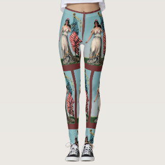 Vintage Lady Liberty Workout Everyday Comfortable Leggings