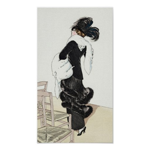 Vintage Lady of Fashion with a Fur Coat Poster