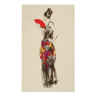 Vintage Lady of Fashion with a Spring Dress Poster