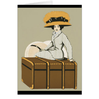 Vintage Lady on Travel Trunk Greeting Card