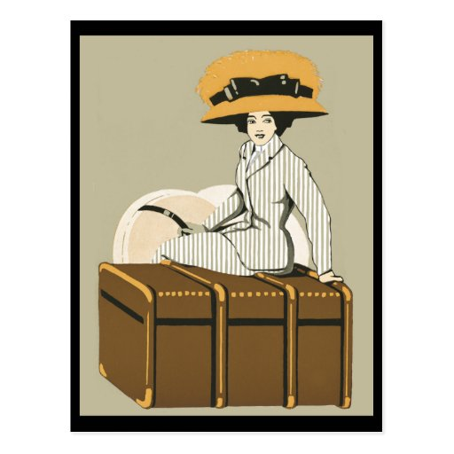 Vintage Lady on Travel Trunk Post Cards