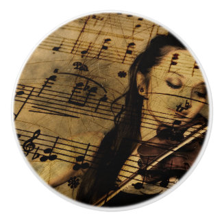 Vintage Lady playing Violin Musical Notes Knob