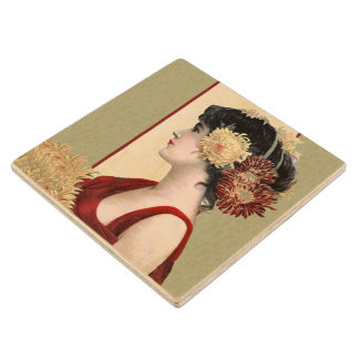 Vintage Lady Red Dress Big Pretty Flowers Maple Wood Coaster