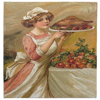 Vintage, Lady serving Thanksgiving Turkey Napkin
