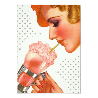 Vintage Lady Sips Soda Fountain Blank Invitation