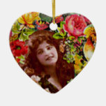 Vintage Lady Surrounded by Flowers Ornament