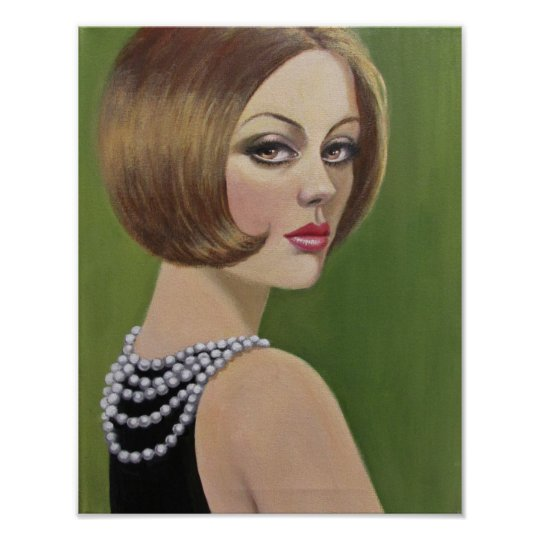 Vintage Lady With A Pearl Necklace Poster