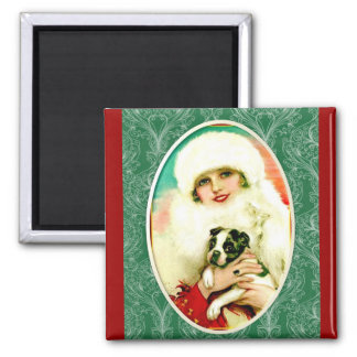 Vintage Lady with Boston Terrier Magnet