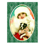 Vintage Lady with Boston Terrier Postcard