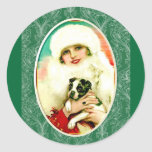 Vintage Lady with Boston Terrier Round Sticker