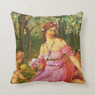 Vintage Lady with little Angels Throw Pillow