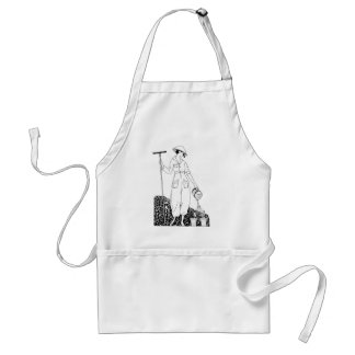 Vintage Lady with Rake in Garden Standard Apron
