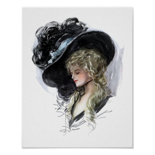 Vintage lady with spectacular blue hat poster