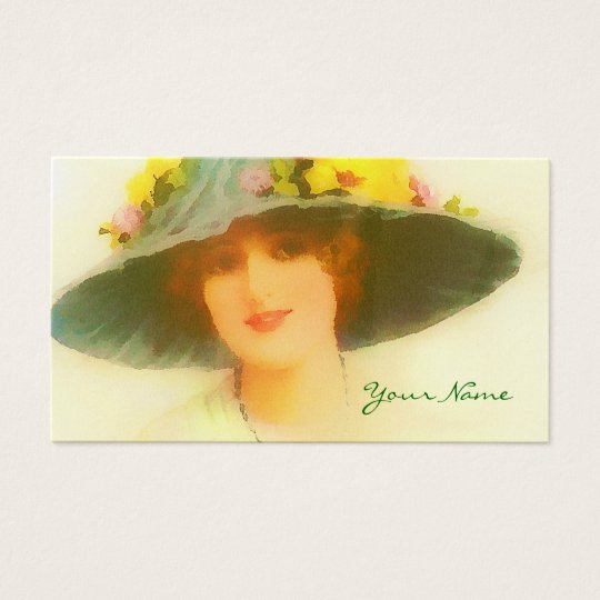 Vintage Lady with spring hat Business Card