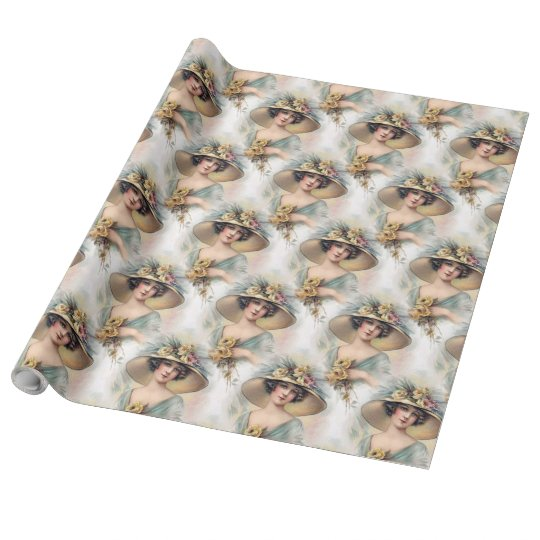 "Vintage lady Wrapping Paper, 30"" x 30' Wrapping Paper"