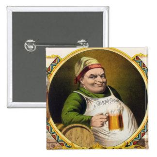 Vintage Lager Beer Advertisement 15 Cm Square Badge
