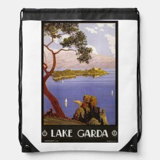 Vintage Lake Garda Italy backbag Drawstring Bag