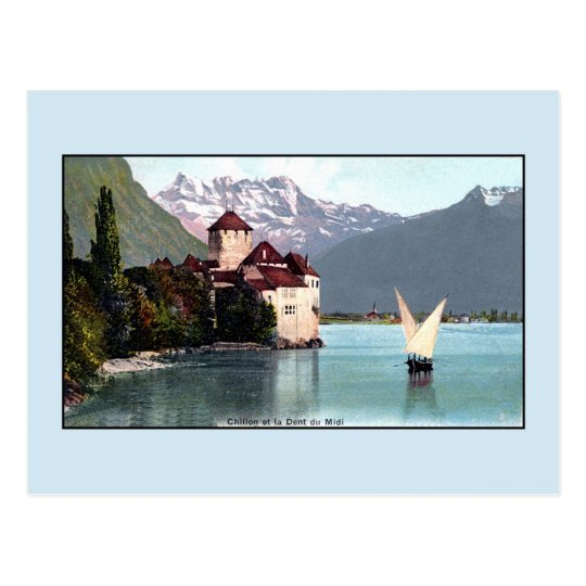Vintage Lake Geneva Chillon Castle Postcard