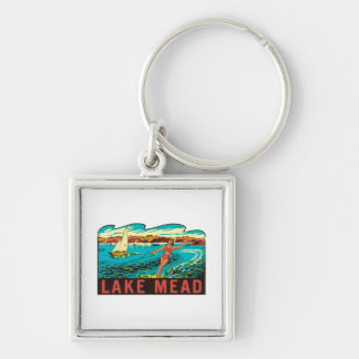 Vintage Lake Mead  Nevada NV State Label Silver-Colored Square Key Ring