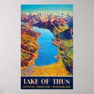 Vintage Lake of Thun Switzerland Travel Poster
