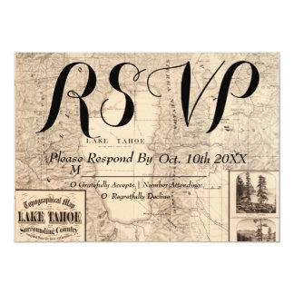Vintage Lake Tahoe Map Wedding RSVP Card