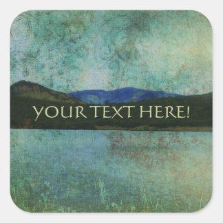 Vintage Lake View Square Sticker