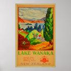 Vintage Lake Wanaka New Zealand Travel Poster
