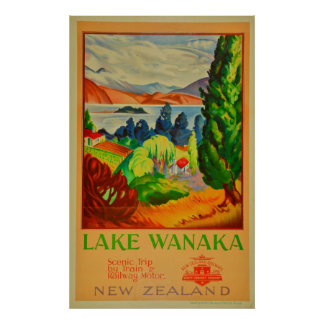 Vintage Lake Wanaka New Zealand Travel Poster