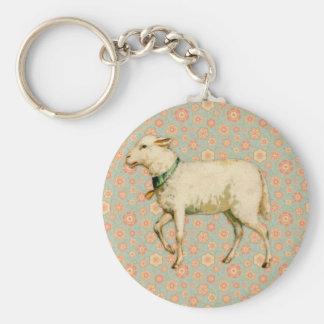 Vintage Lamb Art Basic Round Button Key Ring