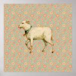 Vintage Lamb Art Poster