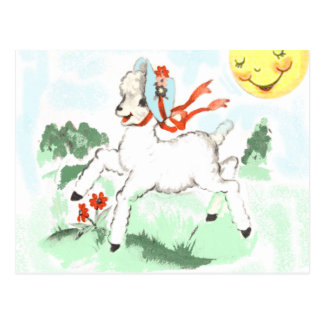Vintage lamb illustration postcard