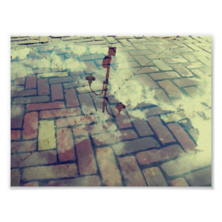 Vintage lamp post Europe reflection Posters