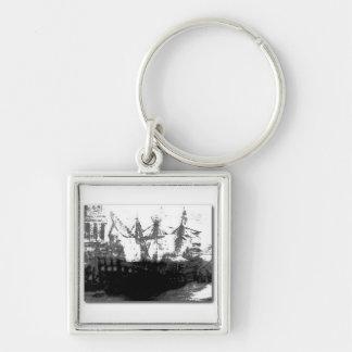 Vintage Landscape Silver-Colored Square Key Ring