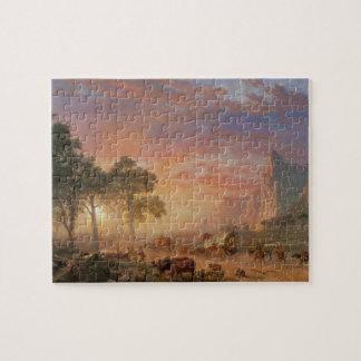 Vintage Landscape, Oregon Trail by Bierstadt Jigsaw Puzzle