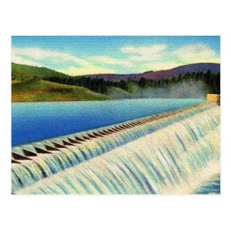 Vintage Landscape Surreal Postcard of a Dam