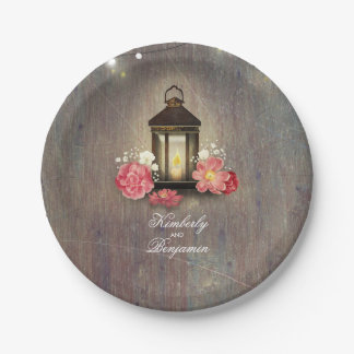 Vintage Lantern Rustic Wood Lights Wedding Paper Plate