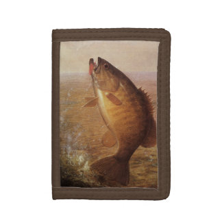 Vintage Largemouth Brown Bass Fish, Sports Fishing Trifold Wallets